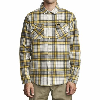 RVCA Men Panhandle Button-Up Flannel Yellow Small