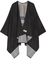 Burberry Reversible Checked Merino Wool Wrap - Charcoal