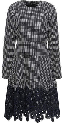 Lela Rose Guipure Lace-paneled Cotton-blend Jacquard Dress