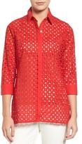 Foxcroft Women's Gigi Eyelet Cotton Tunic