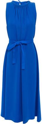 Joseph Grace Belted Gathered Silk-crepe Midi Dress