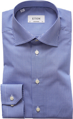 Eton Men's Contemporary-Fit Mini Gingham Dress Shirt