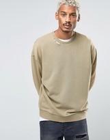 Asos Oversized Sweatshirt With Ripped Neck In Washed Khaki