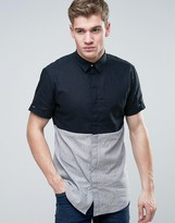 Jack and Jones Core Short Sleeve Shirt in Regular Fit with Block Panel Detail