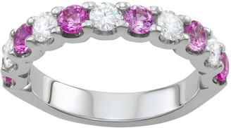 Charles & Colvard 14k White Gold 1 1/2 Carat T.W. Lab-Created Moissanite & Lab-Created Pink Sapphire Ring