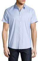 Theory Zack Orton Short-Sleeve Shirt, Light Blue