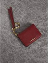 Burberry Leather and Haymarket Check ID Card Case Charm, Red