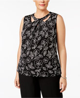 Nine West Plus Size Printed Twist-Neck Shell
