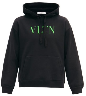 Valentino Logo-print Cotton-blend Jersey Hooded Sweatshirt - Black Green