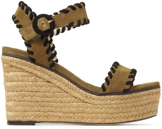 Jimmy Choo ABIGAIL 100 Khaki Mix Suede Chunky Wedge Sandals with Whipstitching