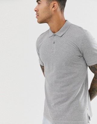 Jack and Jones Essentials slim fit pique logo polo in grey