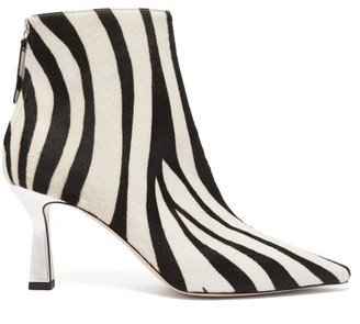 Wandler Lina Zebra-patterned Calf-hair Ankle Boots - Womens - White Black