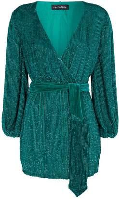 retrofete Sequin Julie Mini Wrap Dress