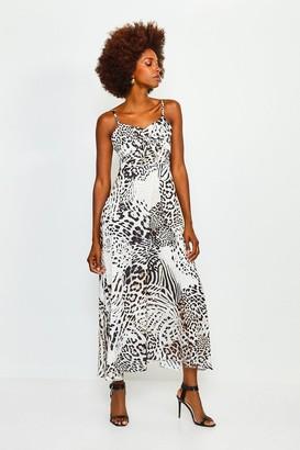 Karen Millen Animal Print Tie Front Maxi Dress