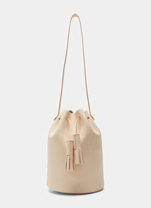 Building Block Leather Bucket Bag in Nude