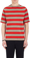TOMORROWLAND Men's Rugby-Striped Compact Rib-Knit Shirt