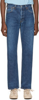 Bless Blue Colorblock Pleatfront Jeans