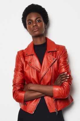 Karen Millen Leather Signature Biker Jacket