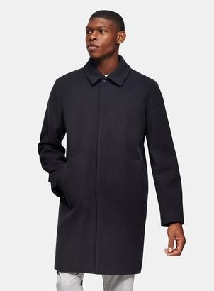 Topman Navy Classic Fit Overcoat