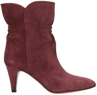 Isabel Marant Dedie High Heels Ankle Boots In Bordeaux Suede