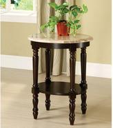 Venetian Worldwide Santa Clarita Oval Stand with Marble Top in Dark Cherry