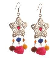 Zephyrr Fashion Silver Gold Tone Floral Hook Dangler Earrings with Pompoms For Girls
