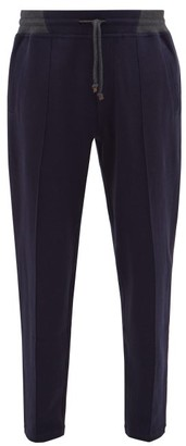 Brunello Cucinelli Pintucked Cotton-blend Track Pants - Mens - Navy