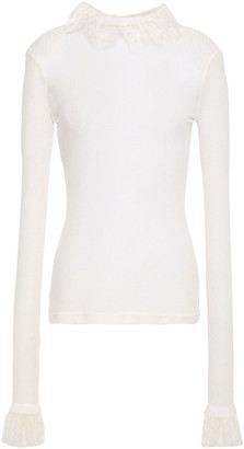 Philosophy di Lorenzo Serafini Ruffled Lace-trimmed Ribbed Jersey Top
