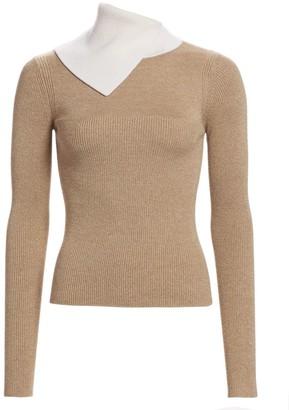 See by Chloe Bicolor Rib-Knit Merino Wool Sweater