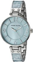 Anne Klein Women's AK/2211LBSV Silver-Tone and Light Blue Marbleized Bangle Watch