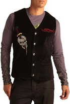 Ed Hardy Mens Cobra Embroidered Velvet Vest