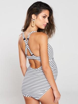 Mama Licious Maternity Stripe Swimsuit - White Navy