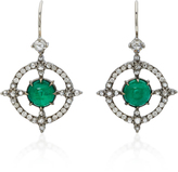 Nam Cho 18K White Gold, Emerald and Diamond Earrings