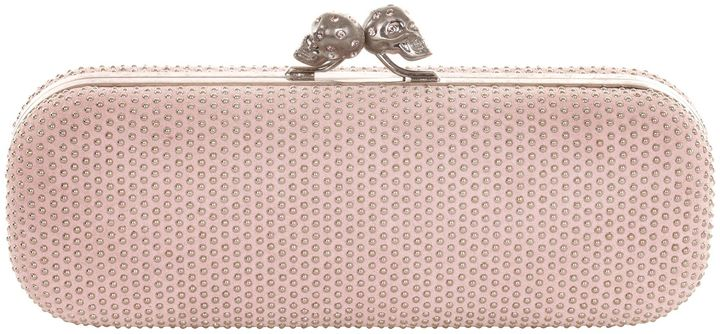 Alexander McQueen Ice Pink Studded Suede Twin Skull Clasp Clutch