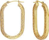 FINE JEWELRY 14K Yellow Gold Diamond-Cut U-Shape Hoop Earrings