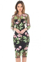 AX Paris Long Sleeve Embroidered Floral Dress With ? Mesh Sleeves