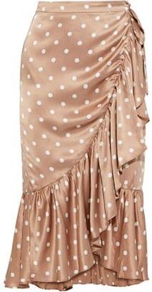 CAMI NYC The Miley Ruffled Polka-dot Silk-charmeuse Wrap Skirt