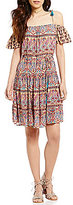 Patrons Of Peace Off-The-Shoulder Tassel-Tie Printed Dress