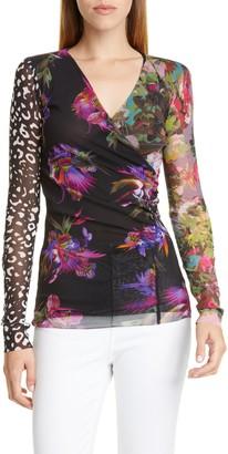 Fuzzi Floral Leopard Print Wrap Top