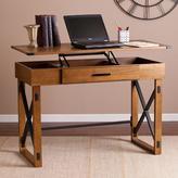 Southern Enterprises Zelma Distressed glazed pine with black Desk