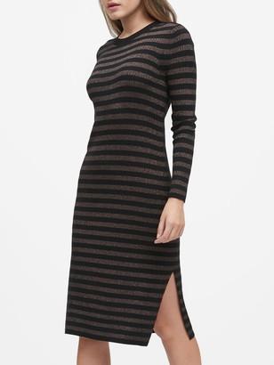 Banana Republic Petite Metallic Stripe Sweater Dress