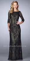 La Femme Beaded Three-quarter Sleeve Lace Evening Dress