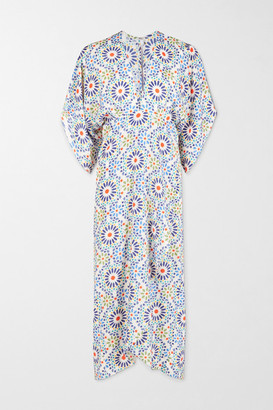 JALINE + Net Sustain Katherine Wrap-effect Printed Voile Dress - Blue