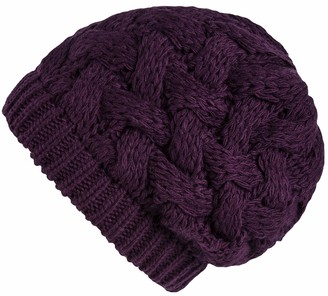 Lilax Cable Knit Slouchy Chunky Oversized Soft Warm Winter Beanie Hat - purple - One Size