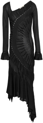 Roberto Cavalli Asymmetric Ruched Stretch-knit Dress