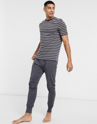 New Look striped lounge set in dark grey