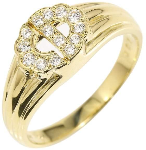 Christian Dior 18K Yellow Gold & Diamond Logo Ring Size 5.75