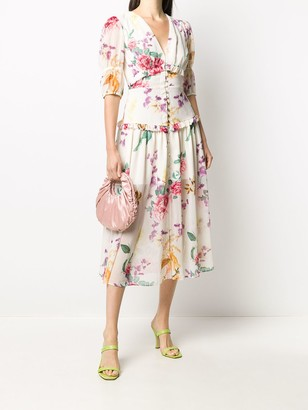 Keepsake Floral Print Ruffle Detail Dress