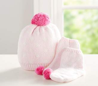 Pottery Barn Kids Dot Knit Sherpa Hat & Bootie Set, 0-3 Months, Pink