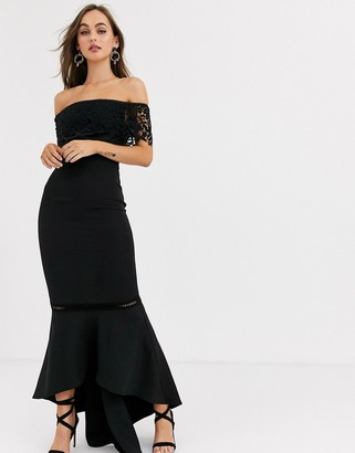 Chi Chi London premium lace midi dress with ruffle detail in black